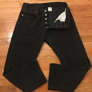 Vintage black 501 button fly straight leg Levi's